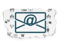 Finance concept: Email on Torn Paper background. Finance concept: Painted blue Email icon on Torn Paper background with  Hand Drawn Business Icons Royalty Free Stock Photo