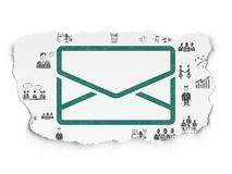 Finance concept: Email on Torn Paper background. Finance concept: Painted green Email icon on Torn Paper background with  Hand Drawn Business Icons Royalty Free Stock Images