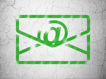 Finance concept: Email on wall background. Finance concept: Green Email on textured concrete wall background, 3d render Stock Photography