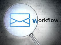 Finance concept: Email and Workflow with optical glass. Finance concept: magnifying optical glass with Email icon and Workflow word on digital background, 3D Royalty Free Stock Images