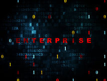 Finance concept: Enterprise on Digital background. Finance concept: Pixelated red text Enterprise on Digital wall background with Binary Code, 3d render Stock Photo