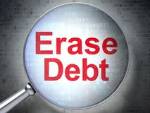 Finance concept: Erase Debt with optical glass. Finance concept: magnifying optical glass with words Erase Debt on digital background, 3D rendering Royalty Free Stock Images