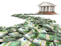 Finance concept. Euro and bank building. 3d Stock Photo