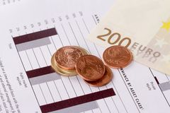 Graph Chart Management with Euros and Coins Royalty Free Stock Photography