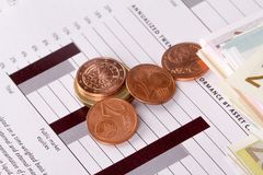 Graph Chart Management with Euros and Coins Stock Image