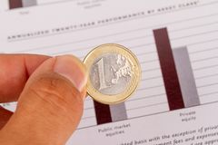 Graph Chart Management with Coins Royalty Free Stock Photos