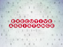 Finance concept: Executive Assistance on Digital. Finance concept: Painted red text Executive Assistance on Digital Paper background with Binary Code, 3d render Royalty Free Stock Photo