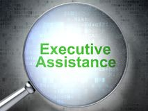 Finance concept: Executive Assistance with optical glass Stock Images