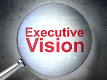 Finance concept: executive vision with optical glass. Finance concept: magnifying optical glass with words Executive Vision on digital background, 3D rendering Royalty Free Stock Photo
