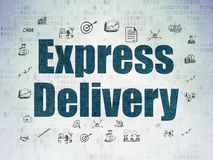 Finance concept: Express Delivery on Digital Paper. Finance concept: Painted blue text Express Delivery on Digital Paper background with  Hand Drawn Business Royalty Free Stock Photo