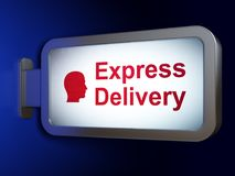 Finance concept: Express Delivery and Head on billboard background. Finance concept: Express Delivery and Head on advertising billboard background, 3D rendering Stock Photography