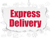 Finance concept: Express Delivery on Torn Paper background. Finance concept: Painted red text Express Delivery on Torn Paper background with Scheme Of Hand Drawn Royalty Free Stock Photography