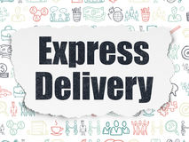 Finance concept: Express Delivery on Torn Paper. Finance concept: Painted black text Express Delivery on Torn Paper background with  Hand Drawn Business Icons Royalty Free Stock Photography