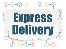 Finance concept: Express Delivery on Torn Paper. Finance concept: Painted blue text Express Delivery on Torn Paper background with Scheme Of Binary Code, 3d Stock Image