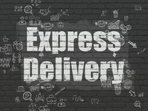 Finance concept: Express Delivery on wall. Finance concept: Painted white text Express Delivery on Black Brick wall background with Scheme Of Hand Drawn Business Stock Photos