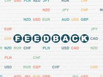 Finance concept: Feedback on wall background. Finance concept: Painted blue text Feedback on White Brick wall background with Currency Royalty Free Stock Photography