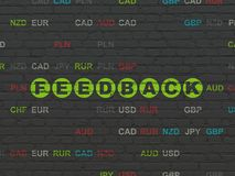 Finance concept: Feedback on wall background. Finance concept: Painted green text Feedback on Black Brick wall background with Currency Stock Photos