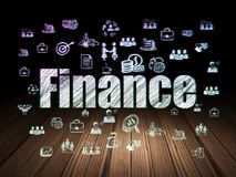 Finance concept: Finance in grunge dark room. Finance concept: Glowing text Finance,  Hand Drawn Business Icons in grunge dark room with Wooden Floor, black Royalty Free Stock Photo