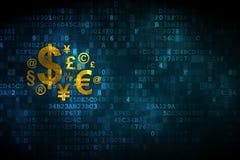 Finance concept: Finance Symbol on digital background. Finance concept: pixelated Finance Symbol icon on digital background, empty copyspace for card, text Royalty Free Stock Photos