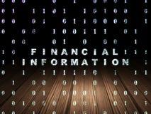 Finance concept: Financial Information in grunge. Finance concept: Glowing text Financial Information in grunge dark room with Wooden Floor, black background Stock Image