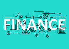 Finance concept flat line design with icons and elements. Modern finance concept s collection. Finance concept lettering Royalty Free Stock Photos