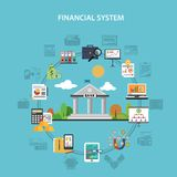Finance Concept Flat. Finance system concept with bank and investment flat icons vector illustration Stock Photos
