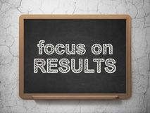 Finance concept: Focus on RESULTS on chalkboard background Royalty Free Stock Images