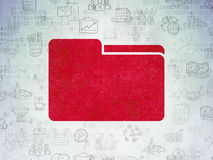 Finance concept: Folder on Digital Data Paper background. Finance concept: Painted red Folder icon on Digital Data Paper background with  Hand Drawn Business Stock Image