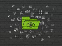 Finance concept: Folder With Eye on wall background. Finance concept: Painted green Folder With Eye icon on Black Brick wall background with  Hand Drawn Business Stock Photos