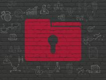Finance concept: Folder With Keyhole on wall background. Finance concept: Painted red Folder With Keyhole icon on Black Brick wall background with Scheme Of Hand Royalty Free Stock Image