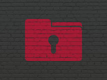 Finance concept: Folder With Keyhole on wall. Finance concept: Painted red Folder With Keyhole icon on Black Brick wall background Stock Photography