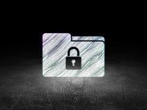 Finance concept: Folder With Lock in grunge dark Royalty Free Stock Photo