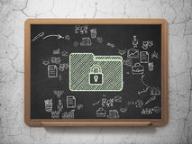Finance concept: Folder With Lock on School Board. Finance concept: Chalk Green Folder With Lock icon on School Board background with Scheme Of Hand Drawn Stock Image