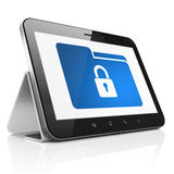 Finance concept: Folder With Lock on tablet pc Royalty Free Stock Photo