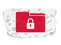 Finance concept: Folder With Lock on Torn Paper. Finance concept: Painted red Folder With Lock icon on Torn Paper background with Scheme Of Hand Drawn Business Royalty Free Stock Photo