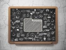 Finance concept: Folder on School board background. Finance concept: Chalk White Folder icon on School board background with  Hand Drawn Business Icons, 3D Royalty Free Stock Image