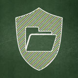 Finance concept: Folder With Shield on chalkboard. Finance concept: Folder With Shield icon on Green chalkboard background, 3d render Royalty Free Stock Photos