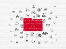 Finance concept: Folder on wall background. Finance concept: Painted red Folder icon on White Brick wall background with  Hand Drawn Business Icons Royalty Free Stock Image