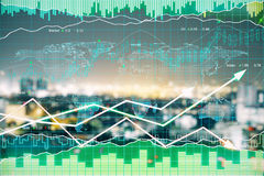 Finance concept. Forex chart on blurry night city background. Finance concept. Double exposure Royalty Free Stock Photo