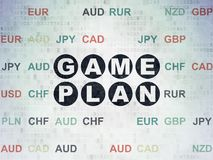 Finance concept: Game Plan on Digital Data Paper background. Finance concept: Painted black text Game Plan on Digital Data Paper background with Currency Royalty Free Stock Image