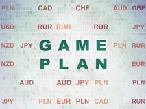 Finance concept: Game Plan on Digital Data Paper background. Finance concept: Painted green text Game Plan on Digital Data Paper background with Currency Royalty Free Stock Image