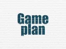Finance concept: Game Plan on wall background. Finance concept: Painted blue text Game Plan on White Brick wall background Royalty Free Stock Photography