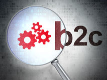 Finance concept: Gears and B2c with optical glass. Finance concept: magnifying optical glass with Gears icon and B2c word on digital background, 3d render Royalty Free Stock Photos