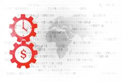 Time is money concept: Gears with clock and dollar icons on digital background. Finance concept: Gears with clock and dollar icons on white digital background Stock Photos