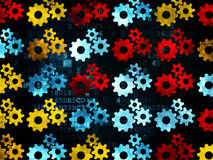 Finance concept: Gears icons on Digital background. Finance concept: Pixelated  Gears icons on Digital background, 3d render Stock Photography