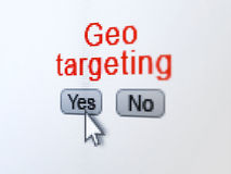 Finance concept: Geo Targeting on digital computer screen. Finance concept: buttons yes and no with pixelated word Geo Targeting and Arrow cursor on digital Stock Images