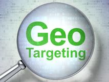 Finance concept: Geo Targeting with optical glass. Finance concept: magnifying optical glass with words Geo Targeting on digital background, 3D rendering Royalty Free Stock Images