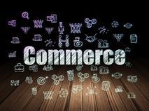Finance concept: Commerce in grunge dark room. Finance concept: Glowing text Commerce,  Hand Drawn Business Icons in grunge dark room with Wooden Floor, black Stock Image