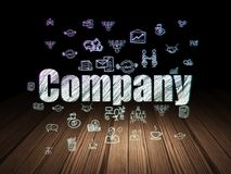 Finance concept: Company in grunge dark room. Finance concept: Glowing text Company,  Hand Drawn Business Icons in grunge dark room with Wooden Floor, black Royalty Free Stock Photos