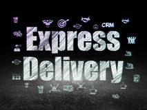 Finance concept: Express Delivery in grunge dark room. Finance concept: Glowing text Express Delivery,  Hand Drawn Business Icons in grunge dark room with Dirty Stock Photo